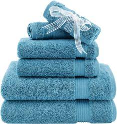 Toalha Hotel & SPA qualidade super macio e absorvente, 100% algodão 6 Peças Conjunto de toalhas para máxima suavidade e a capacidade de absorção na cozinha e casa de banho azul céu