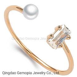 925 Silver 14K 18K Solid Gold Fashion Bijoux en perles anneau lumineux