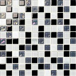 حائط فسيفسائية لامع باللونين الأسود والرمادي والزجاج الأبيض مربعات