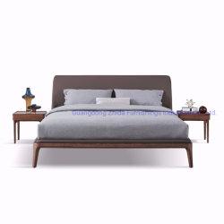 Base de madera maciza de madera de nogal Bed cama de alta calidad