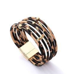 Сплава магнит преднатяжитель плечевой лямки ремня Leopard браслет износ валика клея кожаный браслет медной трубки браслет