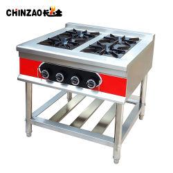 aço inoxidável fogão a gás comercial com 4 queimadores