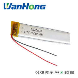 pacchetto ricaricabile della batteria di 3.7V 1500mAh 752080pl Li-Po DIY