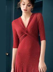 New Arrival Sexy elegant Deep V- Neck folie breed gebreid Onderste jurk