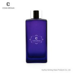 250ml Square tampa prateada assunto deco azul para frascos de difusor