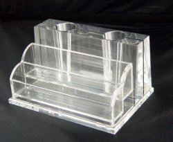 Rectangle Vase crayon en plastique transparent en acrylique transparent Conteneur de plumes