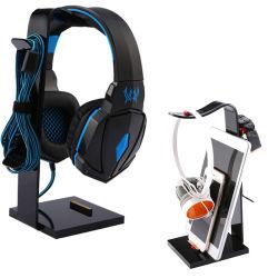 Comercio al por mayor de sobremesa multifunción personalizado Soporte de pantalla auriculares colgador de soporte para auriculares, cable USB, teléfonos móviles, Negro, el polimetilmetacrilato acrílico