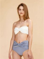 가슴 진보적인 겹 높은 허리를 가진 분리가능한 어깨끈은 숙녀를 위한 호리호리한 숫자 아첨하는 2 조각 수영복을 헐덕거린다