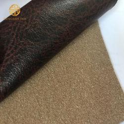 Trois couches de film de transfert de PU imprimé avec le tissu laminé en daim pour canapé