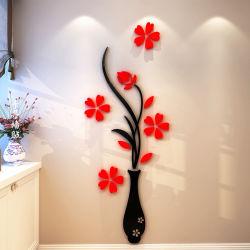 أثاث مزخرف ملصقات Vase Plum 3D أكريليك الكريستال الجدار ملصقات