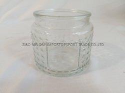حامل شمعة زجاجي مسحه على شكل أسطوانة سعة 12 أونصة بغطاء معدني أو دورق تخزين زجاجي