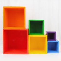 Cores do arco-íris de madeira educativos Blocos de cubos quebra-cabeças para o bebé