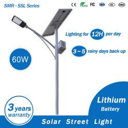 Éclairage extérieur 60W Lampe solaire solaire Rue lumière LED avec batterie au lithium sous forme de la Chine fabricant
