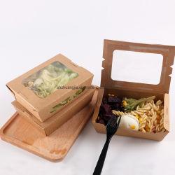 Microwavable desechables de papel Kraft Salad Caja con ventana Auto-Pop