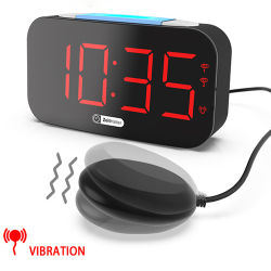 Amazon Best-Selling Réveil numérique 7 couleurs de lumière de nuit fort Réveil Vibrant avec être Shaker