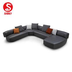 Nouvelle politique européenne de la salle de séjour en coupe de mobilier moderne et un canapé-Set/home /Hôtel /Bureau /Commercial haut Coin Loisirs canapé en cuir
