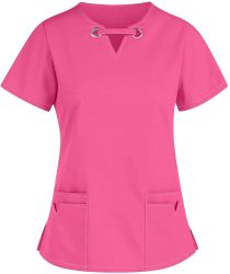 신축성이 뛰어난 새로운 디자인, 부드러운 여성용′ S 솔리드 스트레치 의료용 유니폼 스크럽 세트 V Neck Top