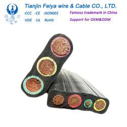 中国ゴムによっておおわれるElectricalsの送電のフラットケーブル、銅のコンダクター力電気ワイヤーケーブル