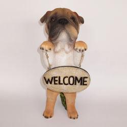 Animal Polyresin Figurine Dog com sinal positivo da estátua de Jardim