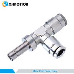 コネクターの真鍮の空気付属品へのXhnotionの空気押しは6mmの管Odが付いている実行のティーのプラグを差し込む
