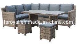5 PC juego de comedor mesa y sillas de ratán de mimbre Muebles de jardín de ocio al aire libre