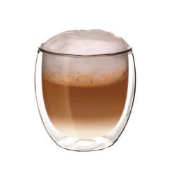 卸し売り牛乳の茶コーヒーカップの倍の壁ガラス