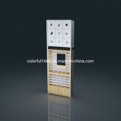 Kundenspezifische Miniso Art-hölzernes Eisen-Regal-Zubehör-Schaukasten Sunglassess Zahnstangen-Brille-Bildschirmanzeige-Regal für Kettenladen-Hilfssystem