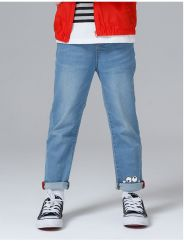 Jeans diritti di stirata dei ragazzi e delle ragazze del denim dei capretti di svago con ricamo