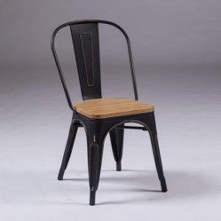 Vitage schwarzes Tolix, das Stuhl-industrieller Metallstapelbarer Kaffee-seitlichen Stuhl W/Wood speist