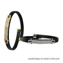 Mode bijoux moins cher bracelet de cuir noir coloré CZ 925 Bracelet en Argent Bijoux (BT6768)