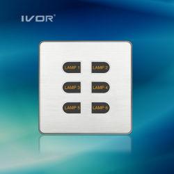 1-6 Les gangs de lumière LED Interrupteur des feux de panneau tactile de l'interrupteur matériel en alliage aluminium (ID-ST1000K-CAN)