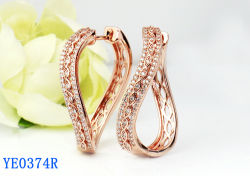 女性の宝石類 925 の純銀製または銅の方法立方ジルコニア大きい Hoop のイヤリング