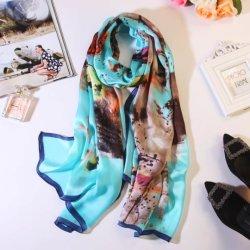 Diseño Floral Material Seda popular Dama mujer pañuelo largo