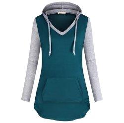 여자 V 목 캥거루 포켓을%s 가진 긴 소매 스웨터 Hoodies 스웨터