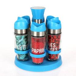 基礎スパイスの回転を用いる卸売6の瓶の香辛料用の棚の一定のプラスチック帽子