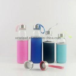 10 Oz 16 Oz succo bevande acqua trasparente bottiglia di vetro Con tappi e manica in bambù/acciaio inox, vetro da 500 ml Bottiglia d'acqua