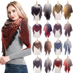 Nova chegada imitado franjas de Caxemira Cachecóis Mulheres Listra geométrica lenço Manta Senhora inverno quente espesso Triângulo Xale Cachecol