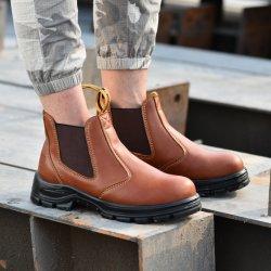 Cuero de moda hombres, mujeres trabajo Calzado de seguridad zapatos botas militares duradero