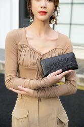 Signora Long Wallet del supporto di scheda della decorazione del metallo di modo dei ricambi auto della borsa delle donne