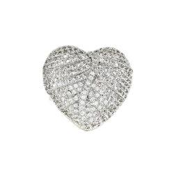 El anillo en forma de corazón con incrustaciones de piedras preciosas de los anillos de cóctel de regalo de amor niñas mujeres decoración anillo de cobre