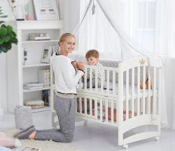 Greppia di legno solido, stile europeo, greppia multifunzionale, culla del bambino, base registrabile della giuntura con bianco del rullo