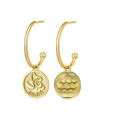 Двойной стороны зодиака дуги 18k позолоченными контактами 925 серебристые Earring Ювелирные изделия
