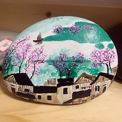 자연적인 자갈 돌 선물 기술 예술 홈 훈장