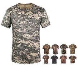 군 둥근 빨리 고리 육군 건조한 위장 t-셔츠