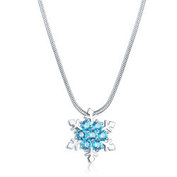 2018 New Arrived Copper Crystal Jewelry ネックレス、女性のために色を付けた Zircon Snow Flower ペンダントネックレス