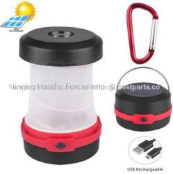 Mini recolhível LED Solar Camping Lanterna Recarregável de luzes e dobragem de lâmpada de Campismo com função de banco