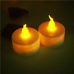 電池式LEDの茶ライトはFlameless蝋燭の良否を明りにすかして調べる