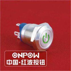 Onpow 12mm Schakelaar van de Drukknop met het Teken van de Macht (gq12-af-10DT/R/12V/S, Ce, RoHS)