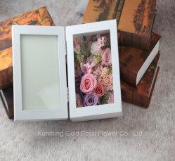 Hot vender nuevo regalo Unfading Conservas de flor rosa rosa Marco de fotos de regalo para la decoración de boda