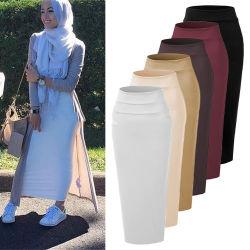 Мода женщин долго шерсть ткань высококачественный эластичный длинный половина юбка для мусульманских леди